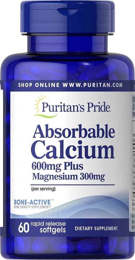 60 Softgels Absorbable Calcium 600mg plus Magnesium 300mg & Vitamin D 1000iu