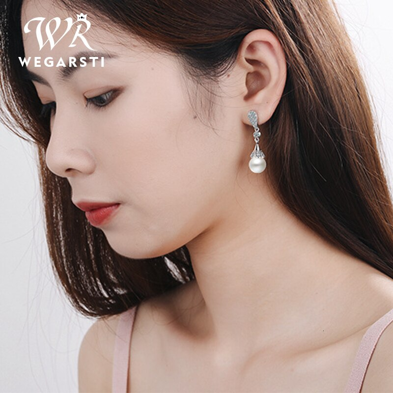 WEGARASTI Silver 925 Jewelry Pearl Earrings Jewelry Natural Freshwater Pearl Drop Earrings Women Silver Wedding Dangle Earring