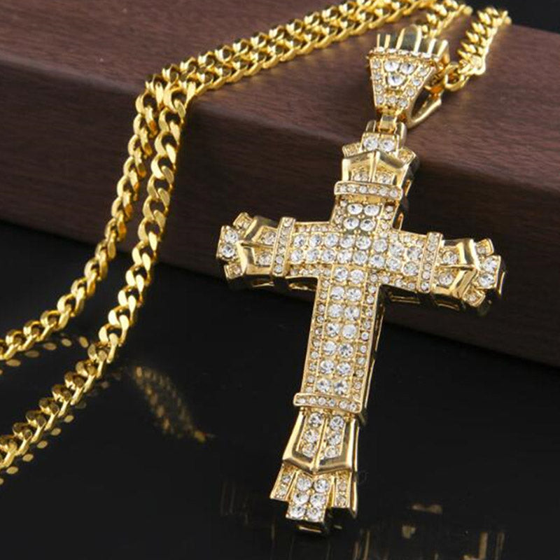 Men's Rhinestone Cross Pendants Necklaces