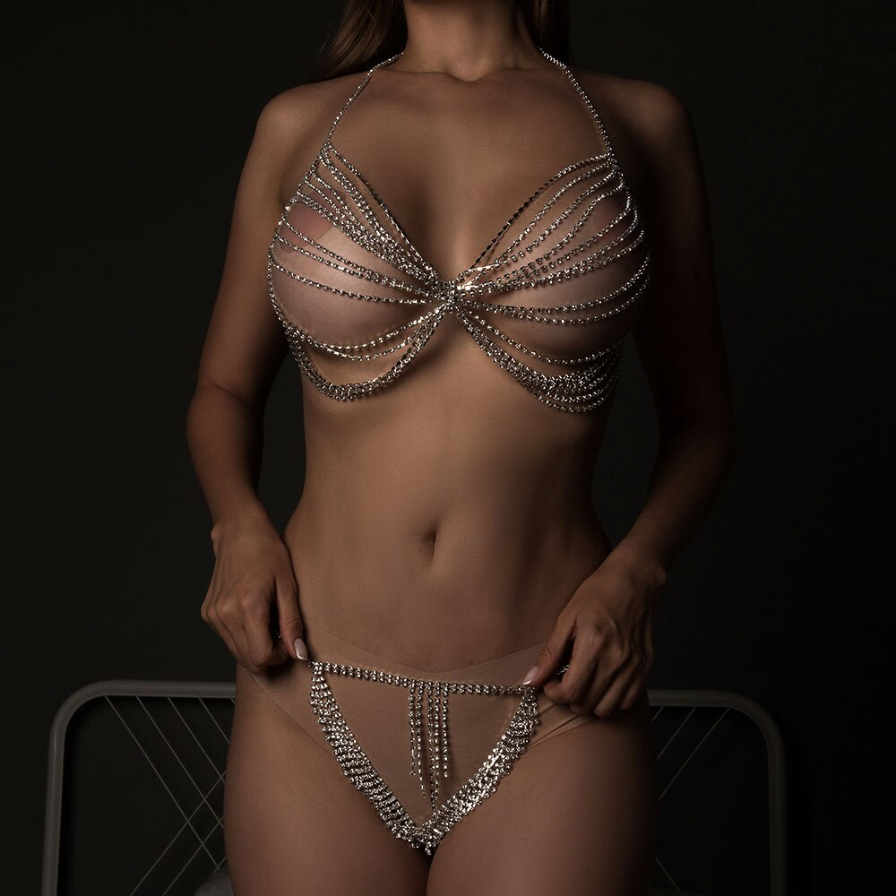 Fashion Multi Layer Rhinestone Bra Body Chain Tassel Underwear