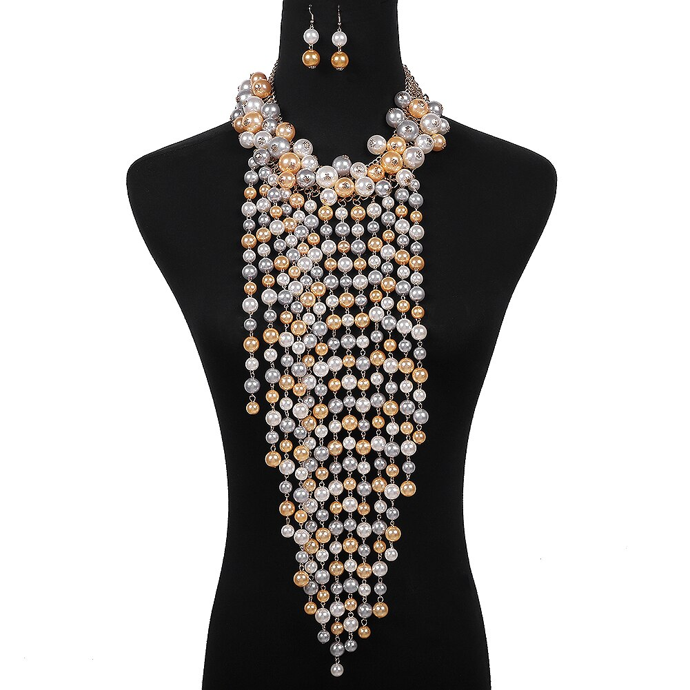 Miwens 2019 Luxury Unique Simulated Pearl Body Chains Jewelry for Women Bridal Wedding Gift Big Statement Jewelrys Brand Design