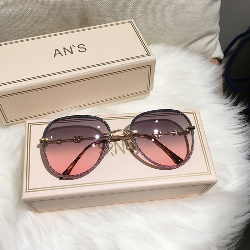 New Diamond Sunglasses Female Imitation Rhinestones Gradient Color UV400 Women Sunglasses