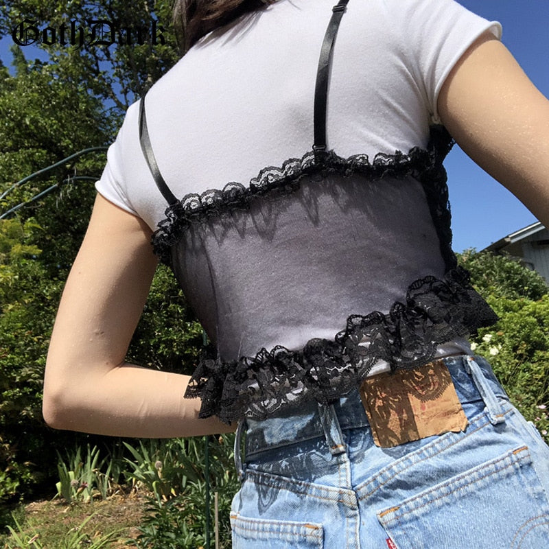 Goth Dark Lace Sexy Gothic See Through Camis Black Mall Goth E-Girl Ruffles Crop Tops Women Backless Sleeveless Bandage Clothes