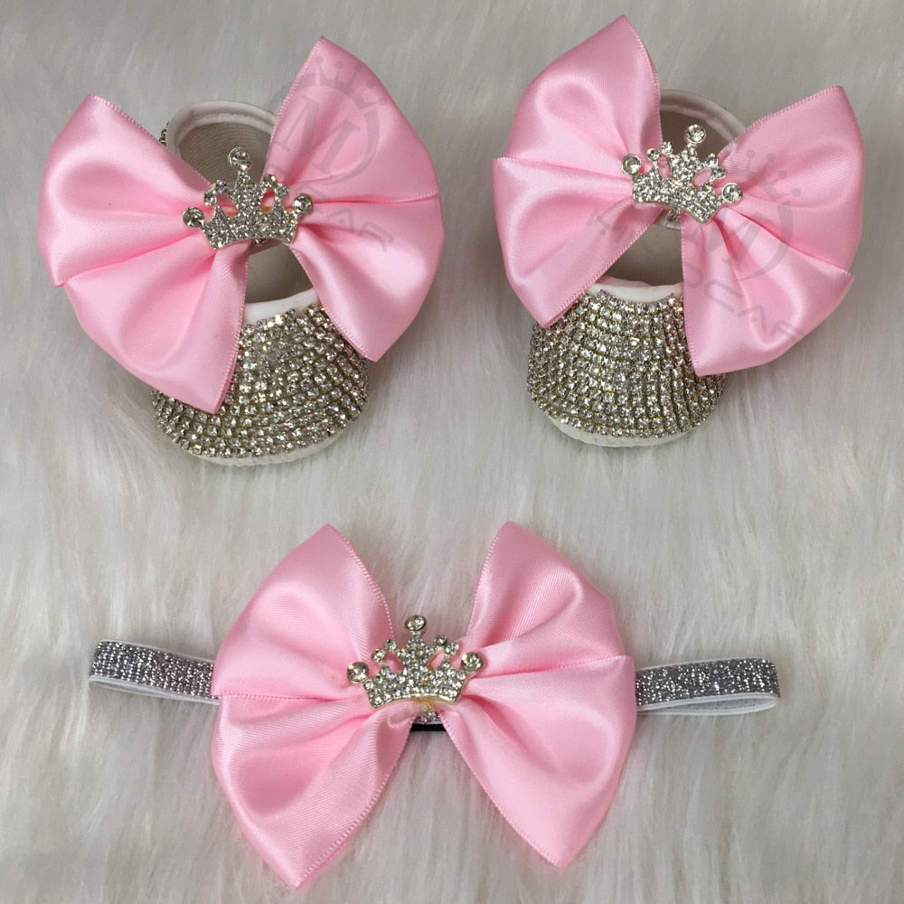 Bling Rhinestones Baby Girl Shoes First Walker Headband Set Sparkle Bling Crystals Princess Shoes Baby Shower