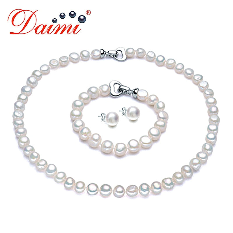 Pearl Jewelry Sets Necklace Bracelet Earrings