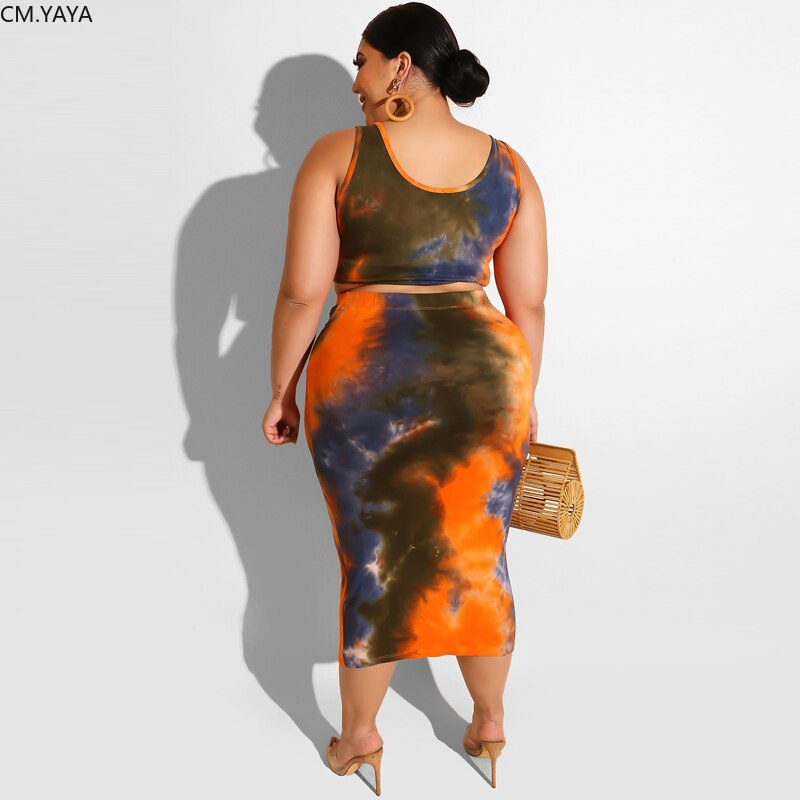 PLus Size Women Summer Tie Dye Print Tank Top Tie Up Bodycon Midi Skirt