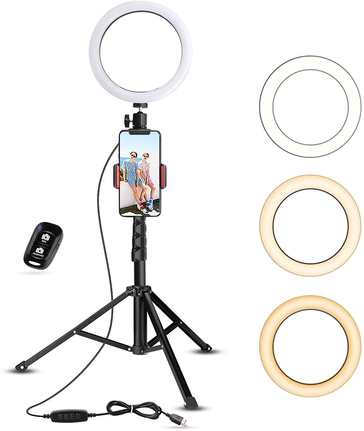 Selfie Ring Light with Tripod Stand & Cell Phone Holder for Live Stream/Makeup, UBeesize Mini Led Camera Ringlight for YouTube Video/Photography