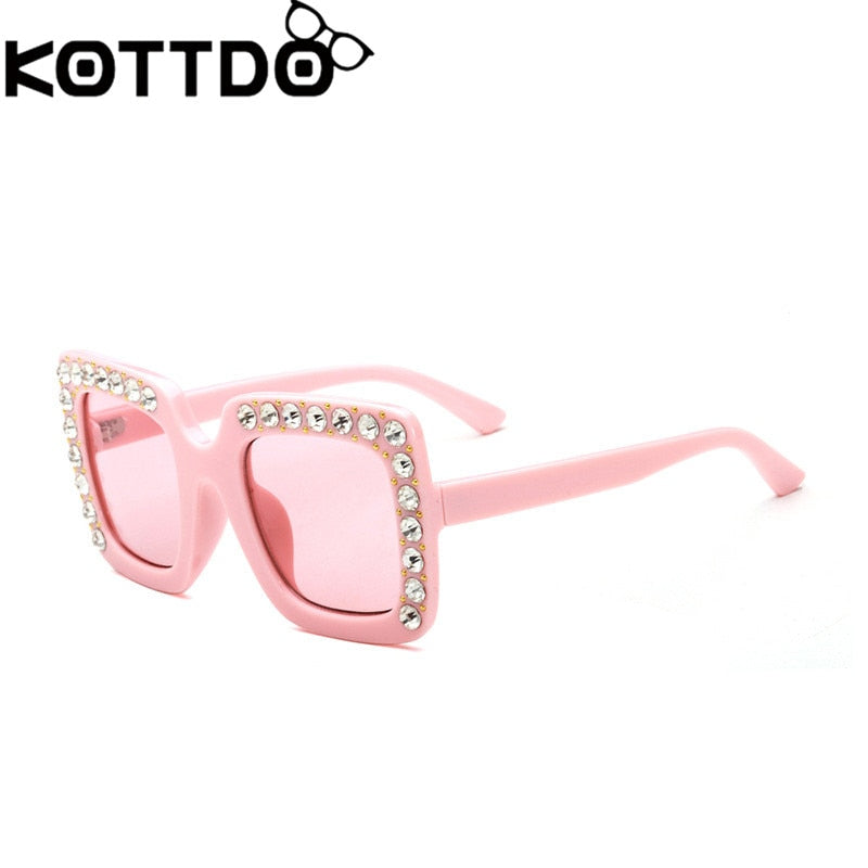 KOTTDO Luxury Rhinestone Kids Sunglasses Square