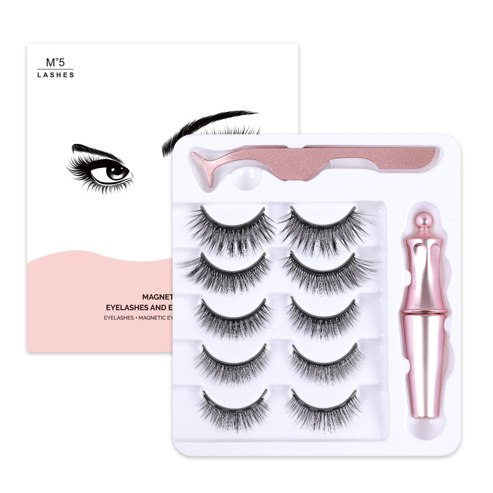 Magnetic Eyelashes &Magnet Eyeliner &Tweezers Set 5 Magnet Magnetic False Eyelashes & Cute Gift Box Ship From USA Warehouse