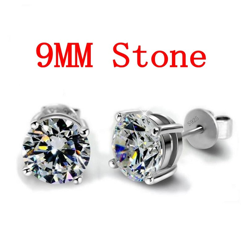 Diamond Stud Earring Real 925 Sterling Silver Jewelry