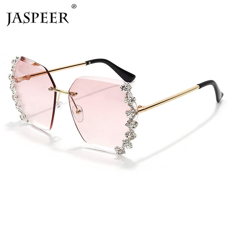 JASPEER Luxury Sunglasses Rhinestone Shades Rimless Sunglasses