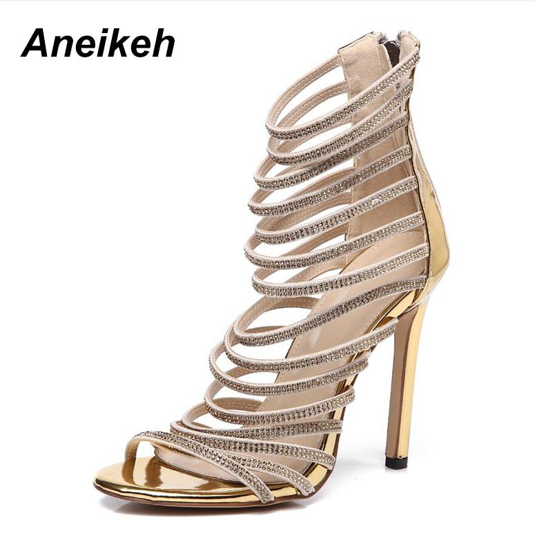 Aneikeh Bling Bling Gold Crystal Sandals