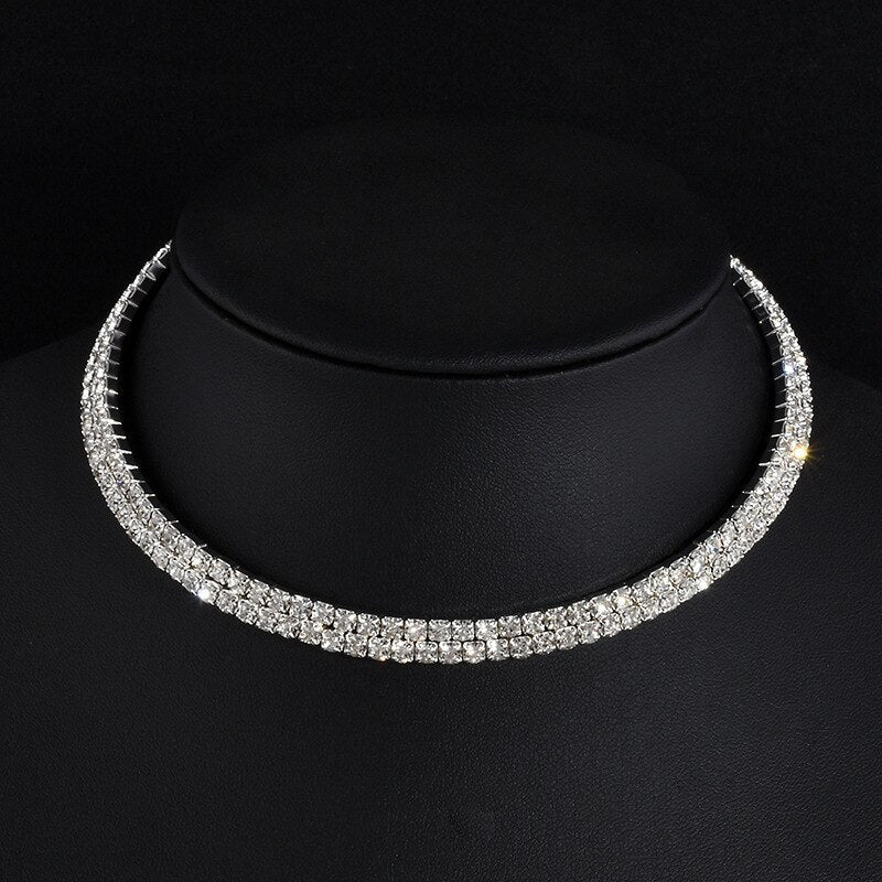 TREAZY Women Diamante Rhinestone Choker Necklace Silver Color Wedding Bridal Party Crystal Collar Choker Chain Necklace Jewelry