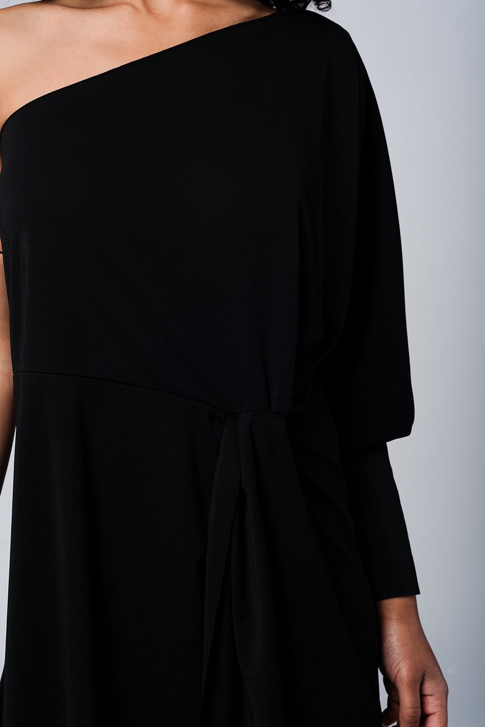 One Shoulder Black Dress