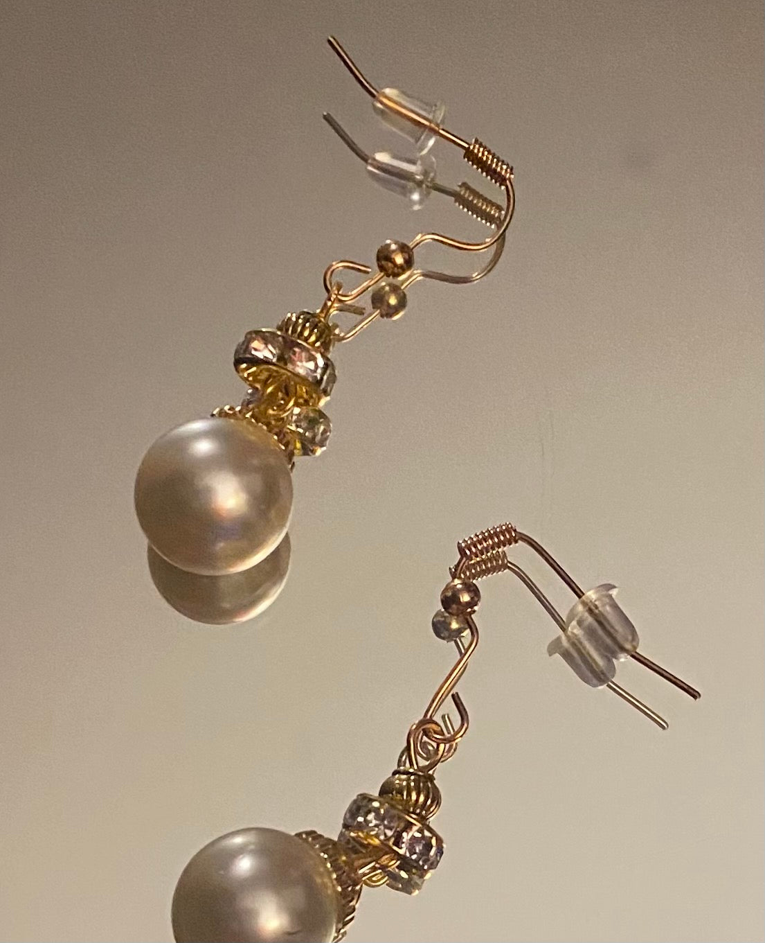 Gold Off white Pearl Earings