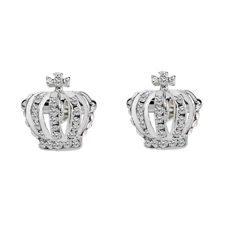 Crown Cufflinks for Men Women Classic Crystal Rhinestone Shirt Cufflinks Wedding Gifts Bling Cuff Links Jewelry Anniversary Gift