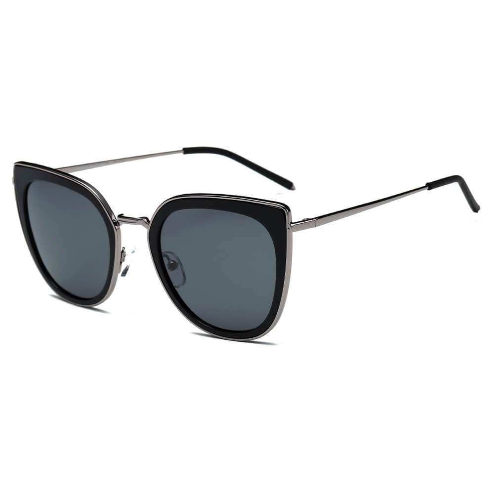 SASKIA | CA11K - Womens Polarized Cat Eye Fashion Rim Sunglasses