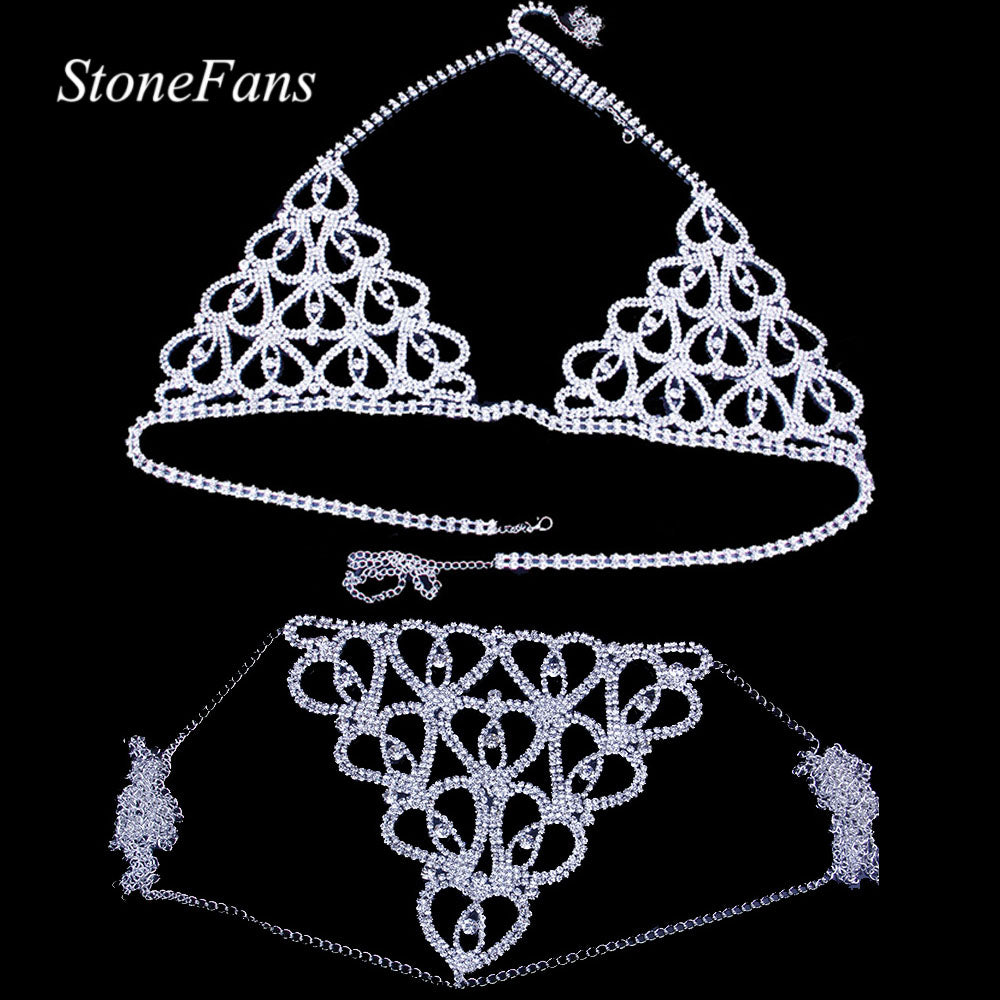 Crystal Body Jewelry Transparent Thong Panties Underwear