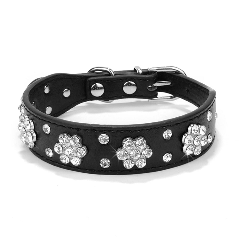 Bling Rhinestone Puppy Cat Collars Adjustable Leather