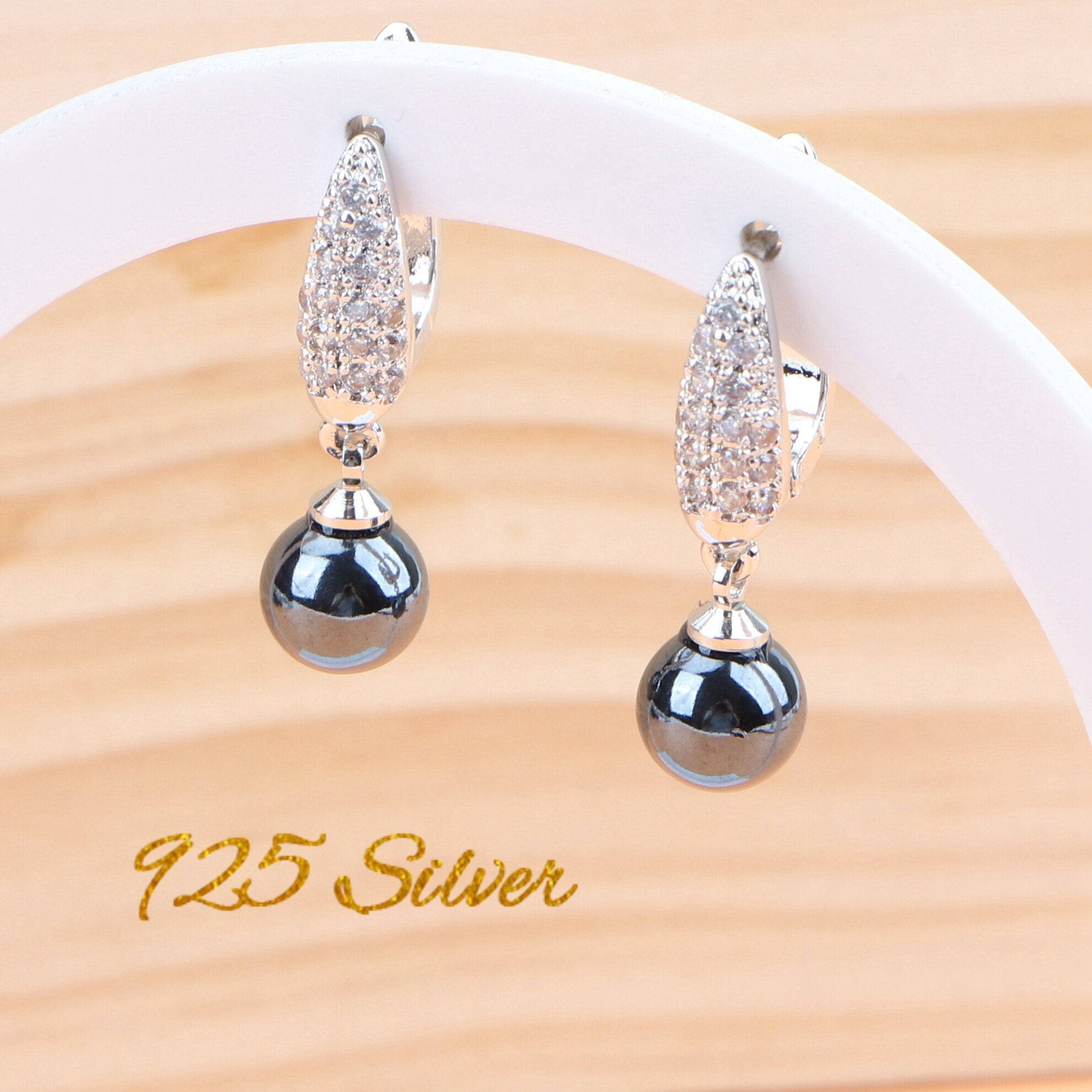 Black Pearls Bridal Jewelry Sets Silver 925