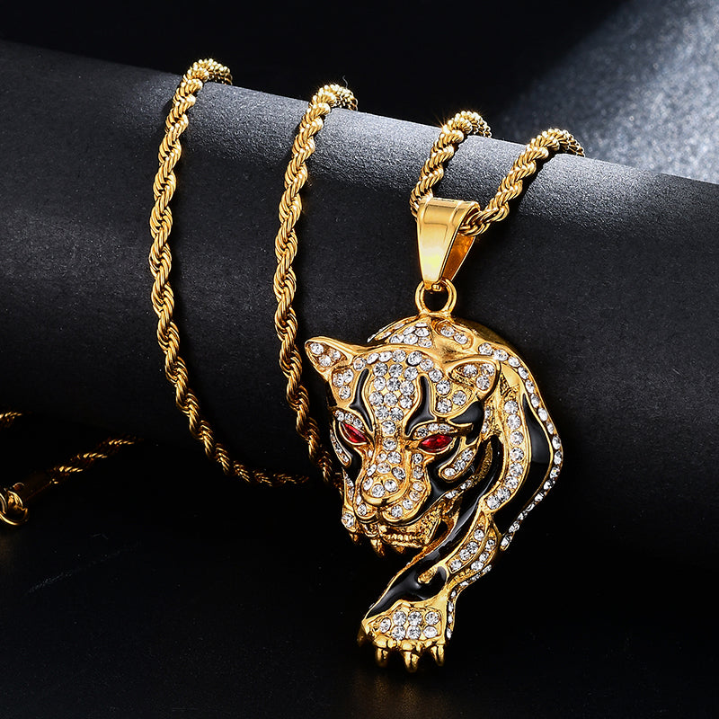 Men's Tiger Stainess Steel Gold Color Pendants & Necklaces