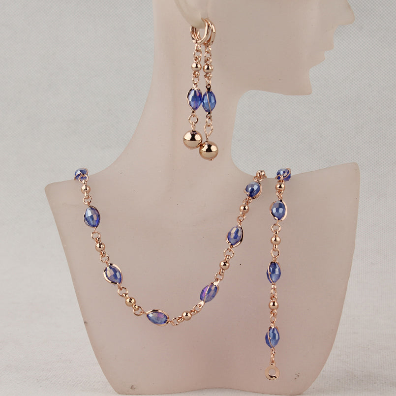 Fashion Crystal Jewelry Sets Gold Color Wedding Bridal Jewelry Sets