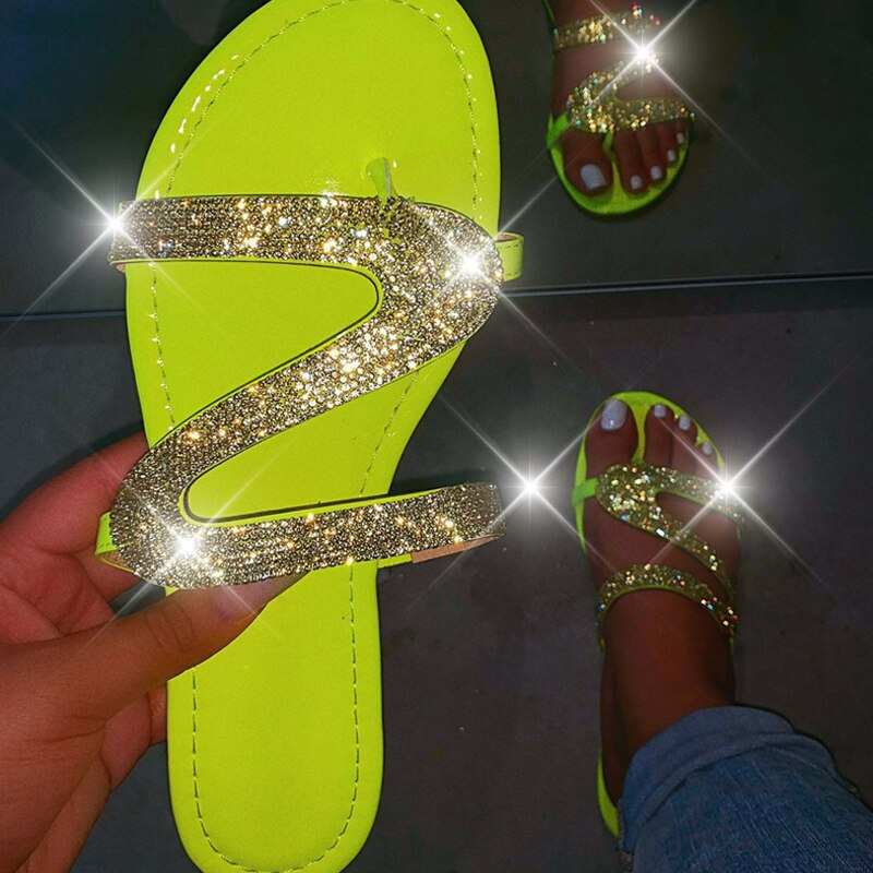 Women Summer Flat Sandals Bling Slippers