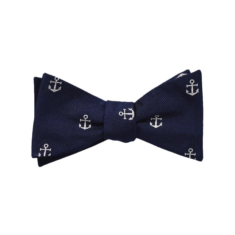 Anchor Bow Tie - White on Navy, Woven Silk - Spread