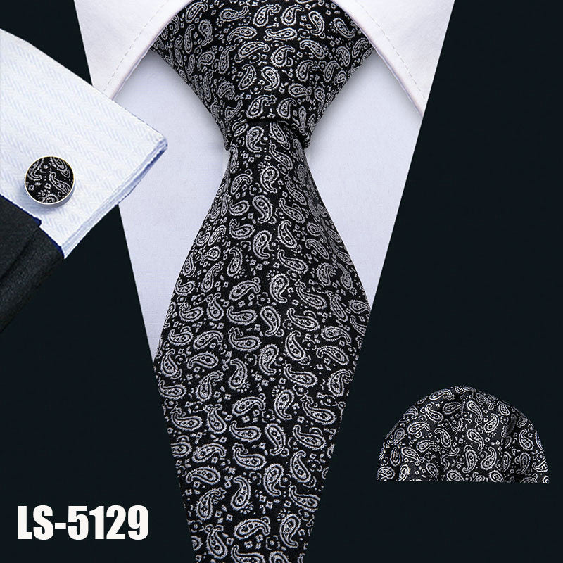 Mens Tie Black Paisley 100% Silk Classic Barry.Wang Tie Hanky Cufflinks Set for Men