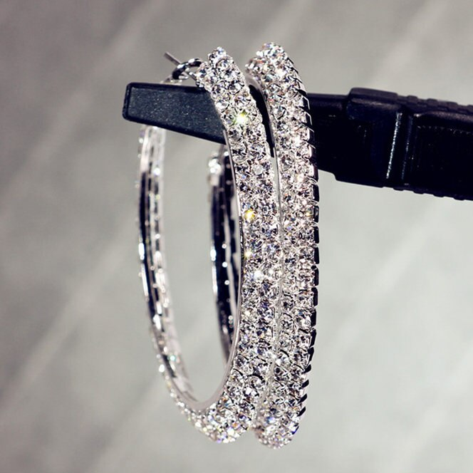 Hotsale New Multi Layer Cubic Zircon Micro Paved Full CZ Hoop Earrings for Women Korean Jewelry