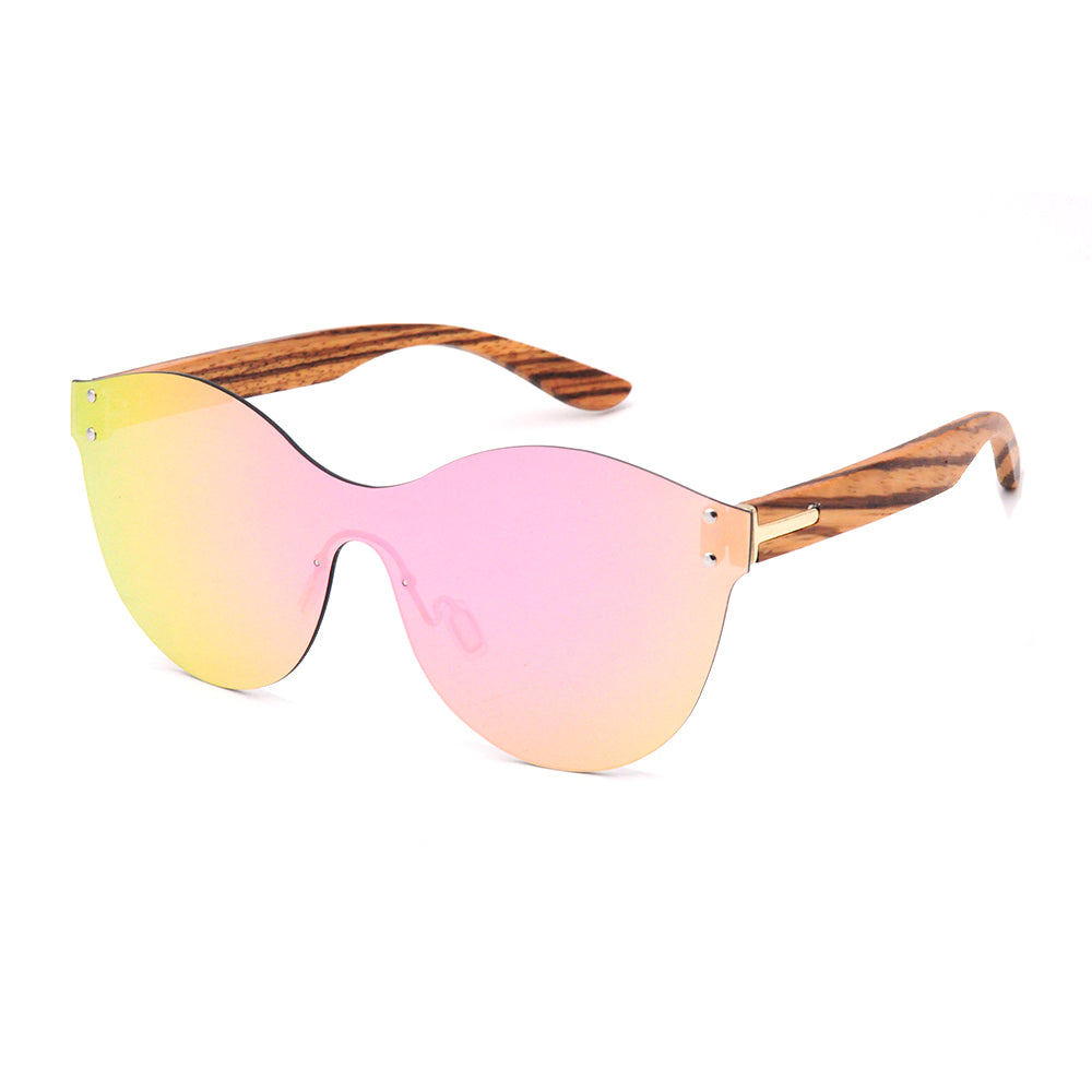 LONSY Vintage Bamboo Wood Sunglasses Cats eye