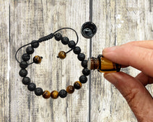 Load image into Gallery viewer, Tigers Eye Bracelet | LAVA Bead Bracelet | Essential Oil Diffuser Bracelet | Aromatherapy Bracelet | Adjustable Bracelet | Sample Oil