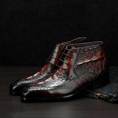 bottines croco homme brun