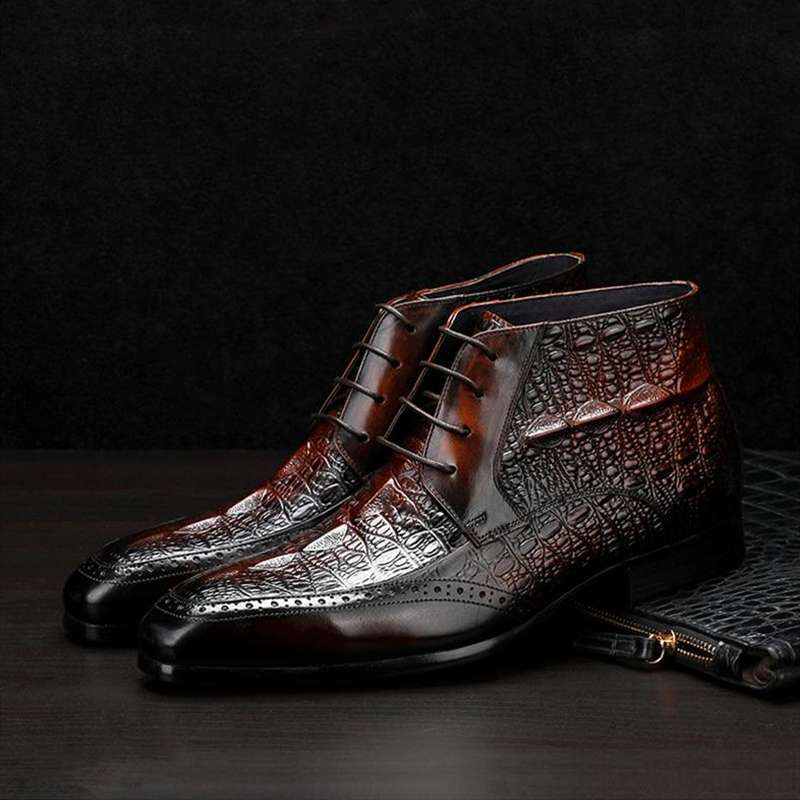 bottines croco homme noir