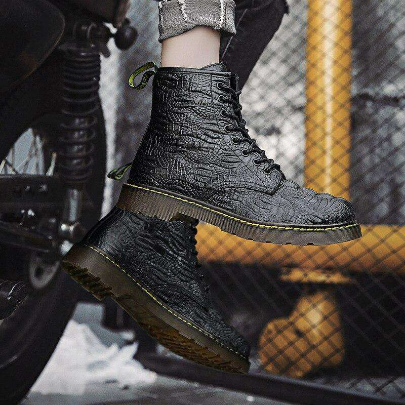 bottines croco noir