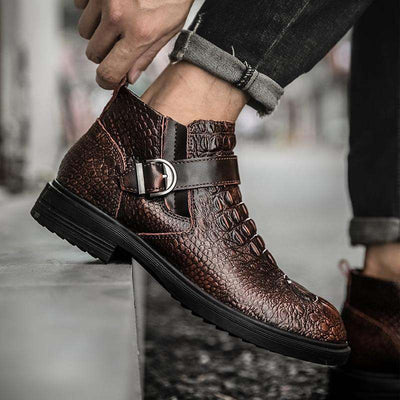 bottines homme croco brunes
