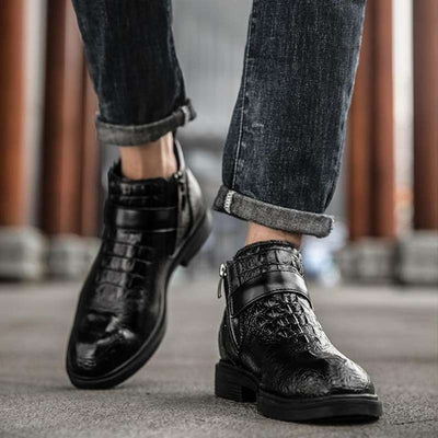 bottines homme croco noir