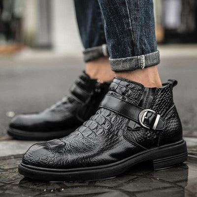 bottines homme croco noires