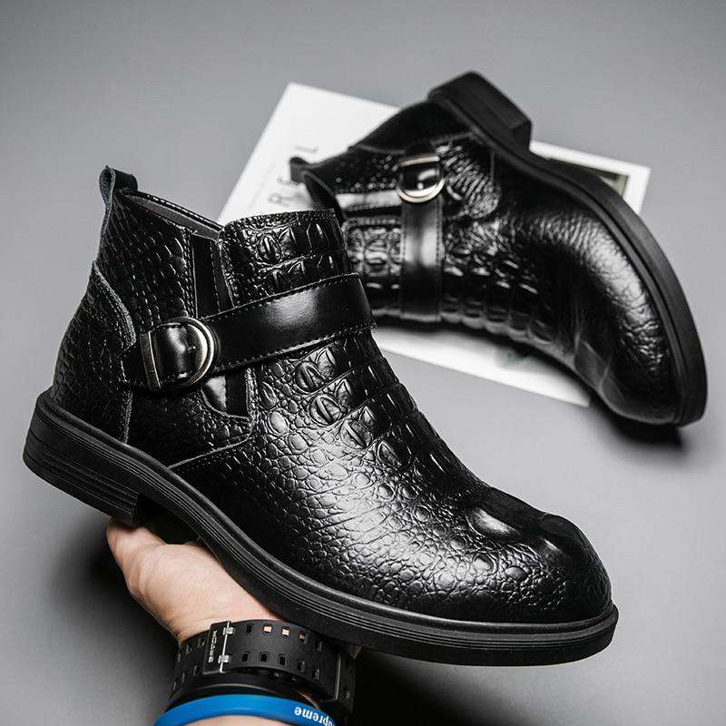bottines noires croco