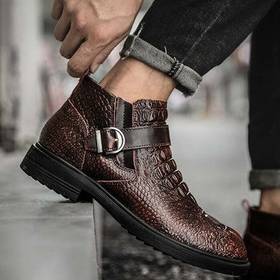 bottines noires croco variante brune