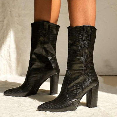 bottines talons croco imitation
