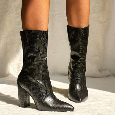 bottines talons croco mannequin
