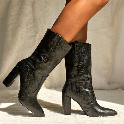 bottines talons croco noires