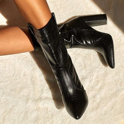 bottines talons croco