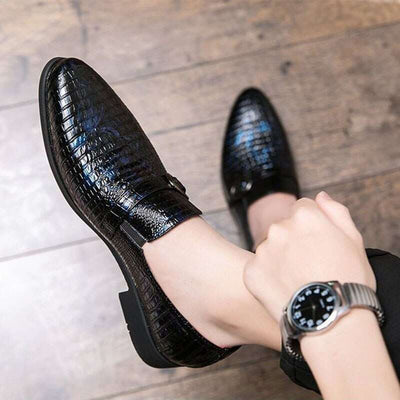 chaussures imitation croco bleues