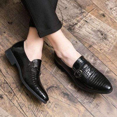 chaussures imitation croco noires