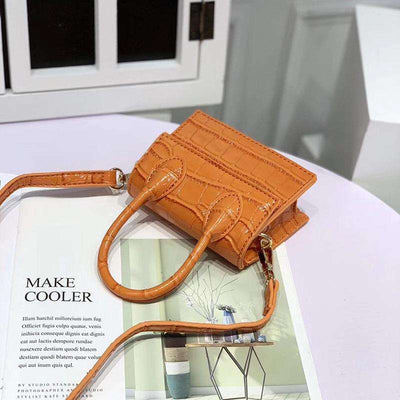 mini sac effet croco orange