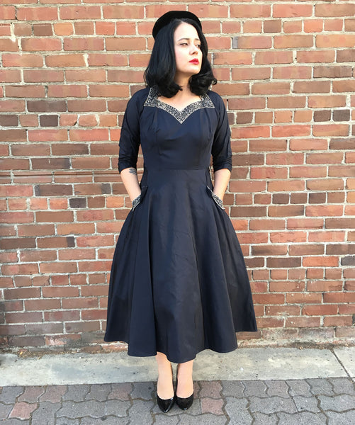 1950s Femme Fatale Taffeta Beaded Dress