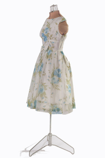 1950s Blue Floral Chiffon Party Dress