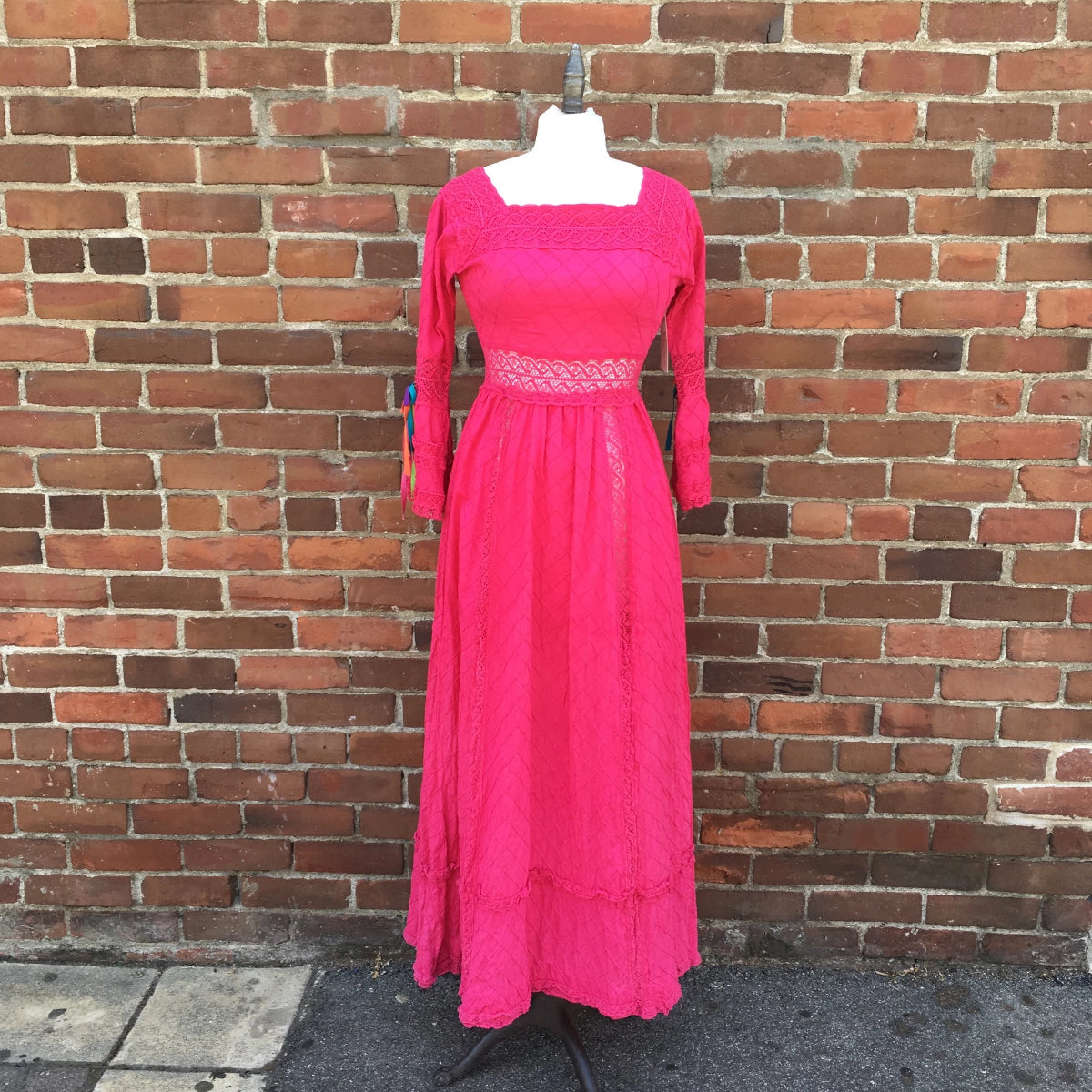 1960s Magenta Cotton Mexican Dress